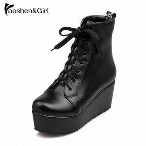 HaoshenGirl hiver / printemps femme talon compensé 6.5cm Bottines à lacets de la plate-forme Bottes Chaussures Femmes Chaussures Noir Chaussures hiver Vayo n