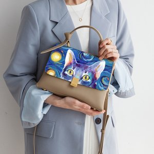 2020 NEW Summer Art CAT Hand Paint Graffiti Bags Van Gogh sky Women Genuine Leather totes Shoulder Crossbody Bags Handbags