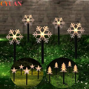 5pcs Christmas Garden Lights Snowflake Christmas Tree Star Outdoor Night Light Ornaments Decorations for Home Natal
