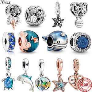 2020 Été Nouvelle verre de tortue de mer Étoile de mer Cheval Argent 925 Charm Perle originale Pandora Bracelets Fit Bricolage Bijoux série Ocean