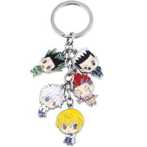 Anime Hunter X Hunter portachiavi Gon Killua Zoldy Kurapika Hisoka metallo catena cifre portachiavi Fahsion Car Key