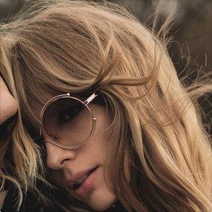 Man Women Round Sunglasses Mirror Vintage Retro Sun Glasses Female Male Brand Designer Sunglasses-women Metal Frames Resin Lens