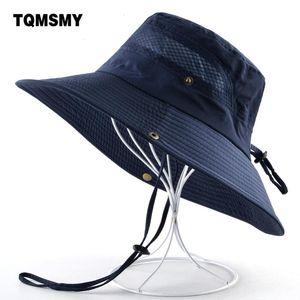TQMSMY Sun Hats for men Bucket Hat women's Wide Brim Anti-UV cap men's summer Fishing Caps Breathable mesh bone Beach hat man
