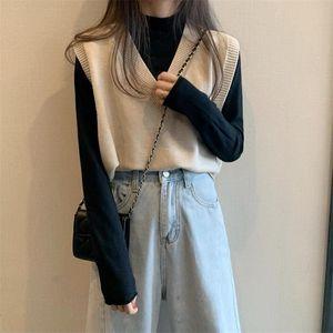 Повседневный Tank Tops Women осени корейский стиль Смазливая Solid Color V шеи вязаный свитер жилет без рукавов пуловер Жилет T500 201019
