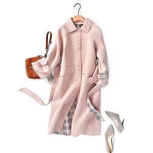 Shuchan Pink Lea Blend Coat Women Ajustable Cintura Single Breasted Wide-cintura Oficina Lady Abrigos y Chaquetas Mujeres LJ201106
