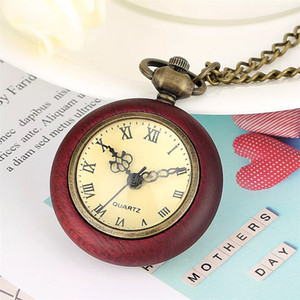 Old Wood Pocket Watch Necklace for Men Women Quartz Movement Fob Chain Pendant Clock Reloj Male Female Necklaces Watches Red Wooden Pendants
