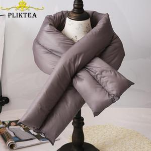 PLIKTEA coreana espessura quente de café Inverno de Down Anel Lenço por Mulheres marrom cinzento Mulher lenços para Cachecol Infantil Neck Círculo