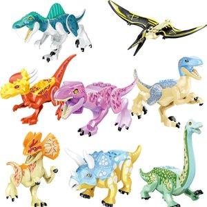 World Building Blocks Kids Assemble Bricks Dinosaur Toy Pterosaurs Triceratops Figures Model Toys for Children Gift