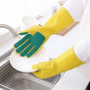 Durable latex à cinq doigts gants de récurage éponge composé Gants de nettoyage Nettoyage domestique Gants d'hiver pour Anti Gel Dishwaing w7j5 #