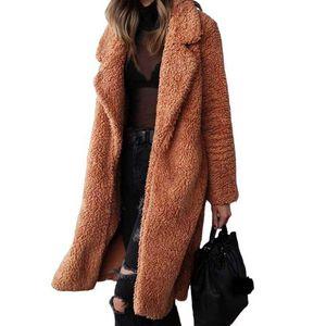 Otoño Invierno Faux Fur Coat mujeres caliente de la capa del oso de peluche piel de las señoras de la chaqueta femenina de peluche de felpa Outwear el sobretodo largo