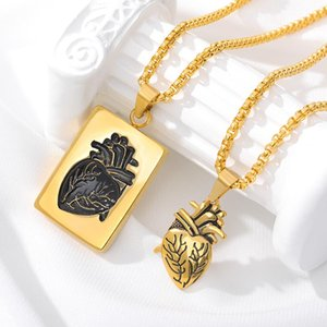 Puzzle Anatomical Heart Pendant Necklaces For Women Men Hip Hop Punk Necklace Couple Jewelry Gift Stainless Steel Chain Collares