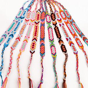 Cor tecida corrente minimalista jóias arco-íris pulseira exotic vento padrão menina mulheres cadeias de algodão 2 3qx g2b