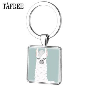 Tafree Cute Alpaca Square Keychain Animal Keyring Charm Glass Round Pendant Key Chain for Women Jewelry Yt07