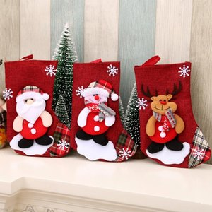 Christmas Tree Hanging Party Tree Xmas Decor Santa Stocking Sock Gift Candy Bags Lovely Gift Bag for Children Fireplace Tree