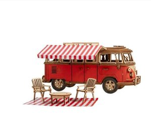 242pcs DIY 3D Camper Van Wooden Recreational Vehicle Puzzle Game Assembly Car Toy Gift for Children Teens Adult