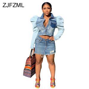 Puff Sleeve Crop Denim Jacket for Women Turn-Down Collar Buttons Causal Denim Coat Causal Plus Size Pockets Slim Bomber Jacket
