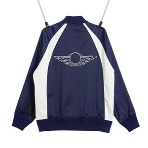 VENDA QUENTE 20FW Color Matching Splice Bomber Jacket Bordados Homens Mulheres Primavera Outono vôo Jacket Outdoor Moda High Street Outwear