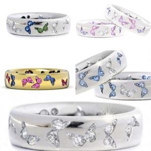 Borboleta anéis liga misturada cor zircon banda mulher ouro chapeamento de prata anel moda jóias azul verde 2hj l2