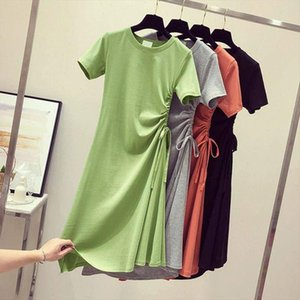 Womens Summer Dress 2021 Elegant Bandage Shirt Dress Midi Korean Style Clothes Solid Color Black Red Green Ladies Casual