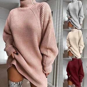Womens alto pescoço de malha camisola elástica moda magro encaixar quente pulôver casual camisola de manga longa luz de luva médio lenha raglan