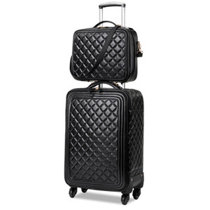 LeTrend Retro PU Leather Bagage à roulettes Spinner haute capacité Chariot haute qualité Valise Roues Sac cabine Voyage