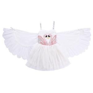 Baby girls swan wings dress children suspender princess dresses 2018 summer Boutique kids perform Dress Clothing C5333