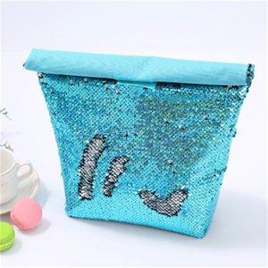 Großhandel Halten Fresh Food Snack Bento Bag Collapsible Farbe Meerjungfrau Pailletten Aluminium Film Lunchbox Taschen Picknickpack 12HH H1