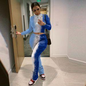 F0ZIT 2020 Bayan Kravat Boyası Baskılı Pileli 2020 kadın Kravat Boyası Baskılı Pileli Pan Eğlence Takım Elbise Pantolon Spor Casual Suit