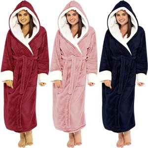 Women Winter Thermal Long Bathrobe Lovers Thick Warm Coral Fleece Kimono Bath Robe Plus Size Nightgowns Bridesmaid Dressing 2020