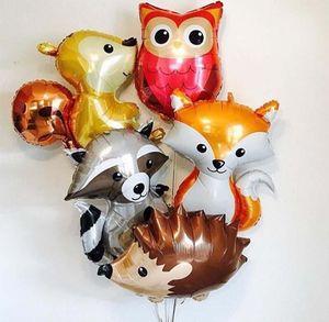 1pcs Large Hedgehog Raccoon Balloons Jungle Cartoon Animal foil Balloon Birthday Safari Party Decor Kids Toys Helium Balls