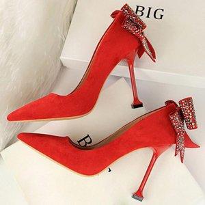 2020 Mulheres 10 centímetros Salto Alto Sapato de bico fino cristal Rhinestone Estilo Chunky Bombas nupcial do casamento de luxo Pink Lady Qualidade Rebite Sapatos