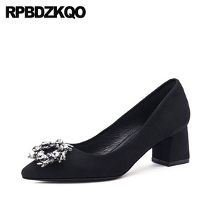 ladies dress shoes diamond rhinestone suede medium heels black pointed toe 2020 thick crystal pumps wedding small size chunky