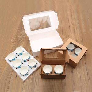 10 pièces de petit gâteau boîte avec fenêtre transparente blanc Brown Kraft Boîtes de carton Détenteurs Dessert Boîte de petit gâteau Emballage Muffin Coupe