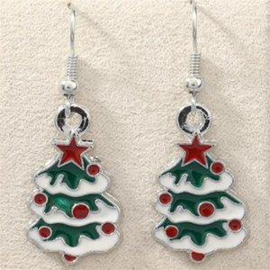Green Enamel Christmas tree Earrings Silver Fish Ear Hook 10pairs lot Antique Silver Chandelier Jewelry 42x15mm . n637