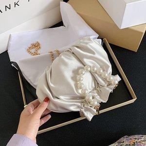 Small silk Drawstring Crossbody Bags For Women 2020 Elegant Bucket Bags Shoulder Handbags Female Travel Pearl Cross Body Bag