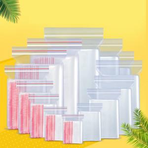 100pcs trasparenti Zipper borse riutilizzabili di alta qualità Gioielli / cibo del sacchetto di immagazzinaggio antipolvere del sacchetto di plastica hotel Cucina Zipper Bag