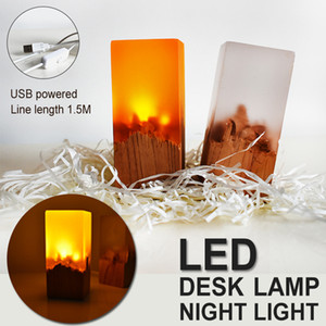Neues Produkt Kreative Geschenke Harz Massivholz Schlafzimmer Decor LED Nachtlichter Wiederaufladbare Nachtlichter Augenschutz Tischlampe