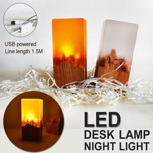 Nuevo producto Regalos creativos Resina Dormitorio de madera maciza Decoración LED Luces de noche Luces de noche recargables Lámpara de mesa de protección ocular