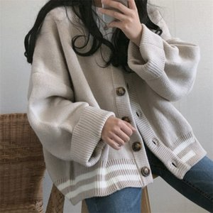 Women Knitted Sweater Autumn Winter Korean style Vintage V-neck oversize Harajuku Solid Color Plus Size Cardigan Knitwear 201223
