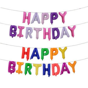 Hanging birthday party decoration balloon 16 inch happy birthday aluminum foil balloon