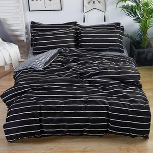 Black White Stripe Printed Bed Cover Set Kid Boy Duvet Cover Adult Child Bed Sheets And Pillowcases Comforter Bedding Set 610371