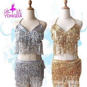 Nuova Belly Sexy Jazz Pole Bance Sequins Castel Uniform Stage Costume