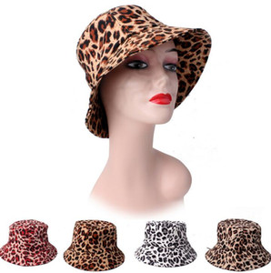 2021 New Unisex Leopard print Bucket Hat Fisherman Hat outdoor travel hat Sun Cap Hats for Men and Women 4 Colors