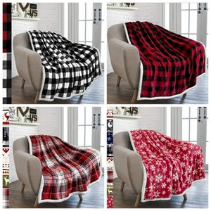Adults Plaid Printed Blanket Flannel BlanketsThickening Square Quilt Plush Blanket Winter Couch Warm Bedding Supplies 5 Colors LLA52