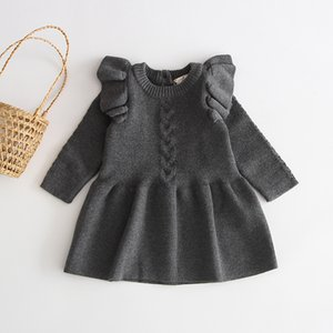 2020 New Cute Winter Warm Kids Baby Girls Sweaters Dress Princess Ruffle Solid Children Sweater Clothes Toddler Long Sleeve Party Costume