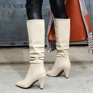 Lsewilly Fashion New Hot Large Size 43 Spike Heels Knee High Boots Woman Shoes Slip On Add Fur Autumn Winter Boots Women Shoes