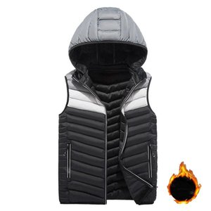 Varsanol 2020 Winter Mens Clothing Jackets Casual Fleece Hooded Sleeveless Vests Man Multi-color Hat Detachable Men Thick Coats