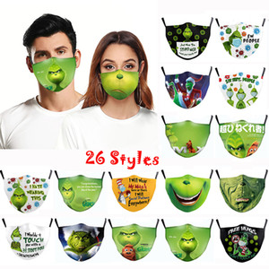 New Fashion Christmas Grinch Masks Cartoon 3D Print Grinch Funny Mask Protection Breathable Face Mask (26 Styles Optional)