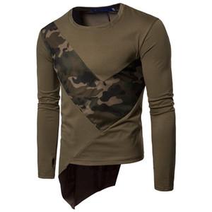 Kamuflaj panelli tasarım tişörtleri erkek mürettebat boyun uzun kollu tişörtleri ilkbahar sonbahar rahat ince hommes t-shirt tops