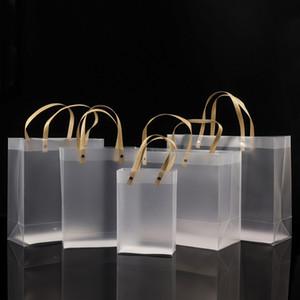 نصف مسح متجمد PVC حقائب اليد حقيبة هدية ماكياج مستحضرات التجميل العالمي التغليف البلاستيكية واضحة أكياس شقة حبل جولة / 10 مقاسات لاختيار BWF2407